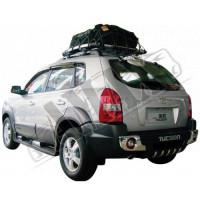 Накладка заднего бампера  с лого (пластик), Хюндай Туксон_Hyundai Tucson (2004-2010)