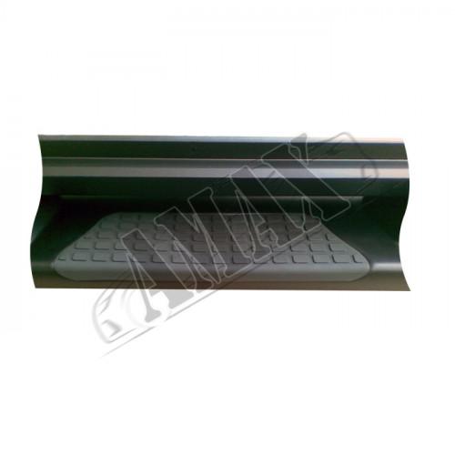 Пороги боковые площадкой (пластиковые) с логотипом, в графитовом цвете на Туксон 04 - 11