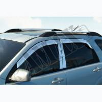 Дефлекторы дверей в хромированном исполнении на Kia Sorento (ветровики: 4 шт)