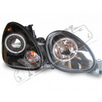 Передние фары линзовые + Angel Eyes (темные) на Lexus GS-300 (98-2005)