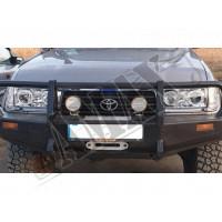 Передние фары в хромовом исполнении (линза - с белой LED подсветкой) Тойота Ленд Крузер_Toyota Land Cruiser 80 (1992-1997)