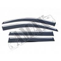 Дефлекторы на боковые окна с хром молдингом - ветровики - на Mitsubishi Outlander XL (07-12)