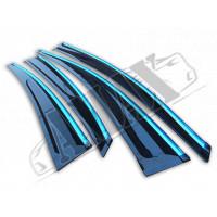Дверные ветровики  с хром кантом в спортивном стиле на Hyundai Accent 10+