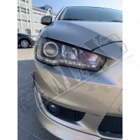 Передние фары линза-диодная полоса (стиль Audi) Митсубиси Лансер_Mitsubishi Lancer X (2008-2015)