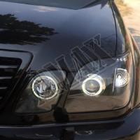 Передние фары (линза и диоды) в  черном цвете + Ангельские глазки Лексус ЛХ_Lexus LX-470 (1998-2007)