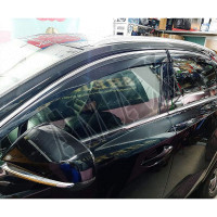 Дефлекторы дверей светло-серые с хром молдингом (ветровики)  Лексус НХ_Lexus NX (2015-2020)