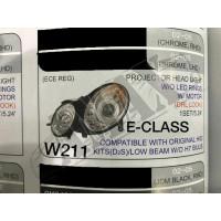 Передние фары (хром) с линзой + LED DRL на Mercedes W211 (2002-2008)