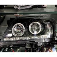 Передние фары черные - линза + Ангельские Глазки Тойота Хайлюкс_Toyota Hilux (2011-2015)