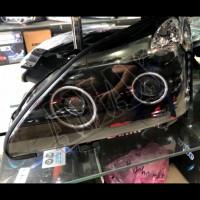 Передние фары (черные) линза + Ангельские глазки  Лексус РХ_Lexus RX 300 / 330 / 350 (2003-2009)