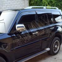 Ветровики с хром-молдингом (дефлекторы дверей) Митсубиси Паджеро Вагон_ Mitsubishi Pajero Wagon 4 (2006-2015)