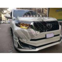 Передние четырех линзовые фары для внедорожника Toyota Land Cruiser Prado 150 (2018-2021)