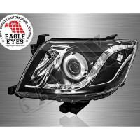 Передние линзовые фары + светодиодная подсветка (ангельские глазки) Тойота Хайлюкс_Toyota Hilux (2011-2015)